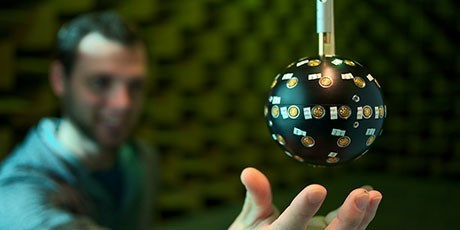 The spherical microphone array consists of 52 individual microphones (Photo: Nicolas Le Goff)
