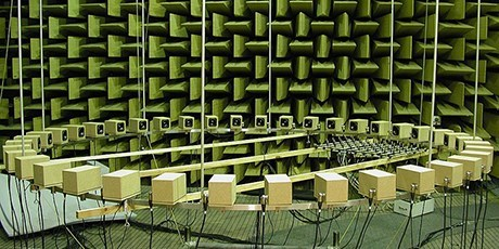 Anechoic room with loudspeaker setup (Photo: Jørgen Rasmussen)