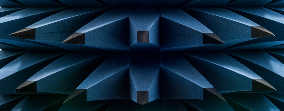 Absorbers in the Radio Anechoic Chamber at DTU Elektro (Photo: Alastair Philip Wiper)